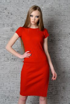 Красное трикотажное платье FIORITA