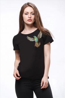Черная футболка с колибри Brosko